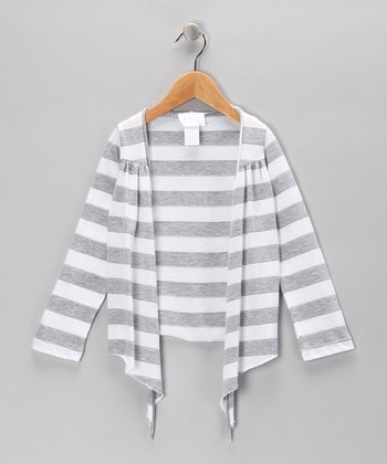 Gray Stripe Open Cardigan