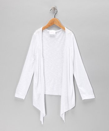White Open Cardigan