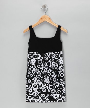 Black & White Circle Tunic - Girls