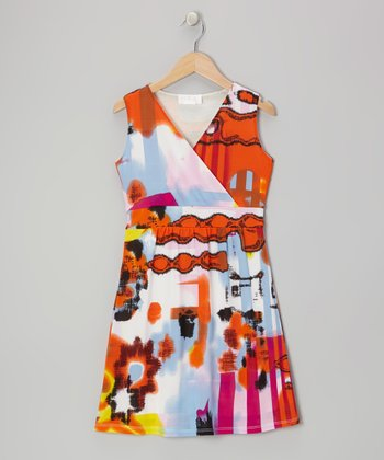 Orange Watercolor Surplice Dress - Girls