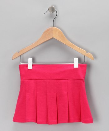 Fuchsia Ponti Pleated Skirt - Girls