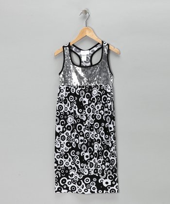 Black Circle Sequin Dress
