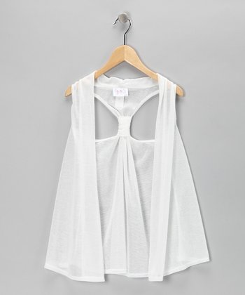 Cream Racerback Vest - Girls