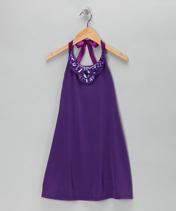 Purple Jewel Halter Dress