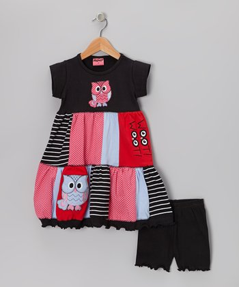 Black Two Hoots Dress & Shorts - Infant, Toddler & Girls