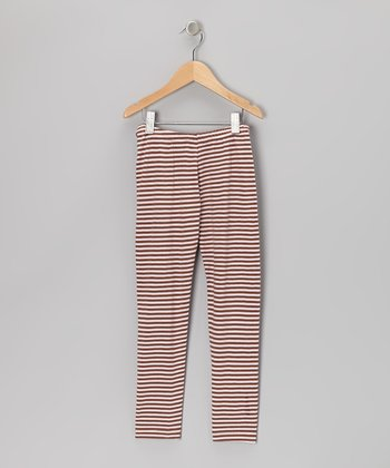 Pink & Brown Stripe Leggings - Infant, Toddler & Girls