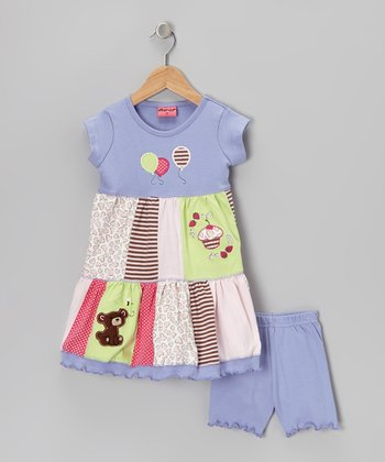 Blue Teddy Bear Picnic Dress & Shorts - Infant, Toddler & Girls