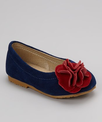 Navy & Red Flower Suede Kate Flat