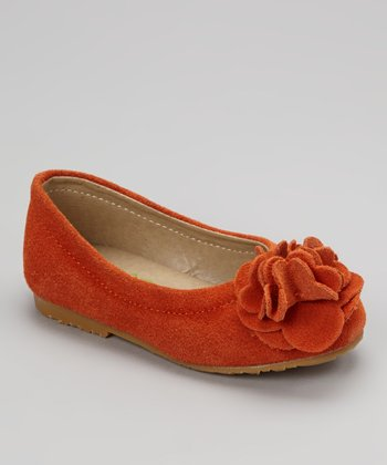 Orange Flower Suede Kate Flat
