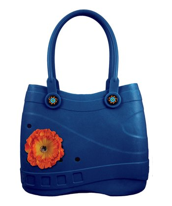 Royal Blue Flower Charm Tote
