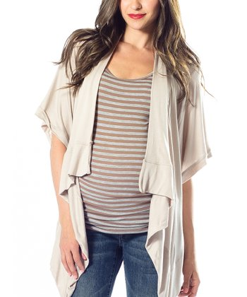 Taupe Summer Maternity Open Cardigan