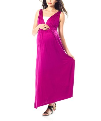 Fuchsia Maternity Maxi Dress
