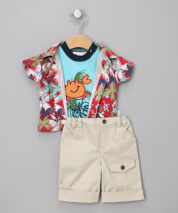 Red & Blue Happy Crab Shorts Set