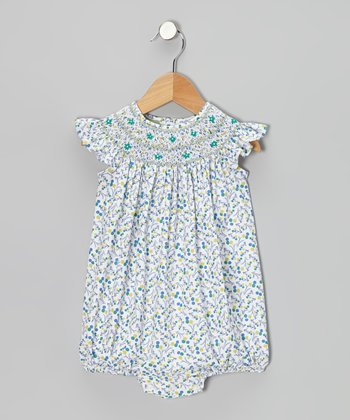 Green Floral Smocked Bubble Bodysuit - Infant