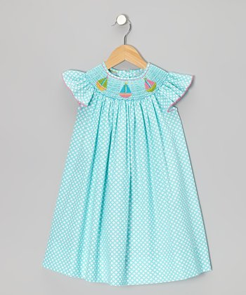 Turquoise Circle Sailboat Smocked Dress - Infant, Toddler & Girls