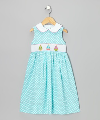 Turquoise Circle Sailboat Dress - Toddler & Girls