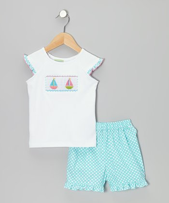 White Sailboat Tee & Turquoise Ruffle Shorts - Toddler & Girls