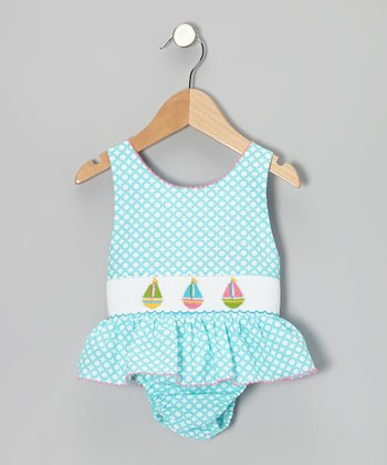 Turquoise Sailboat Skirted Sunsuit - Infant, Toddler & Girls