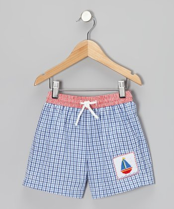 Blue Plaid Sailboat Swim Trunks - Infant, Toddler & Boys