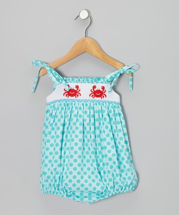 Turquoise Polka Dot Crab Smocked Bubble Sunsuit - Infant