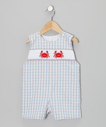 Light Blue Plaid Crab John Johns - Infant & Toddler
