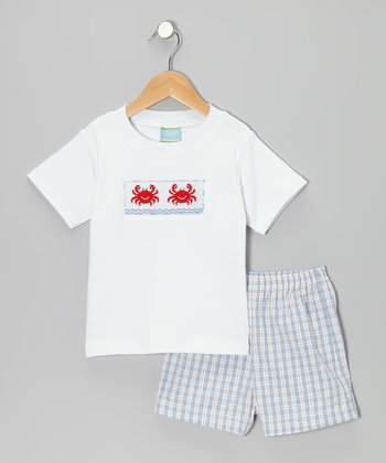 White Crab Smocked Tee & Light Blue Plaid Shorts - Toddler & Boys