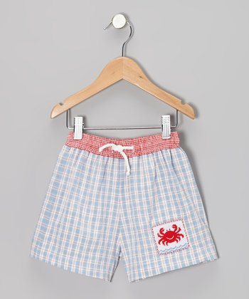Light Blue Plaid Crab Smocked Shorts - Infant, Toddler & Boys