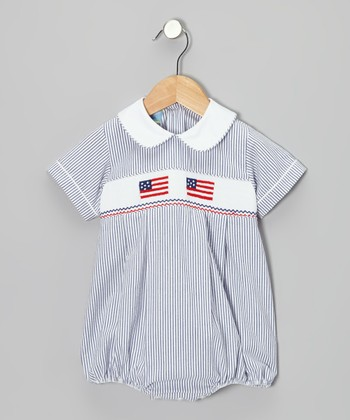 Blue Seersucker Flag Bubble Bodysuit - Infant