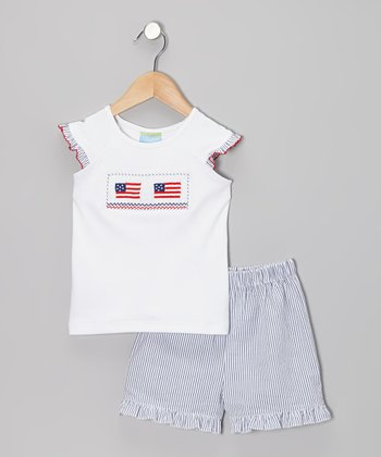 White Flag Tee & Blue Seersucker Ruffle Shorts - Girls