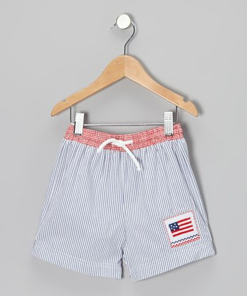 Blue Seersucker Flag Cotton Swim Trunks - Infant, Toddler & Boys