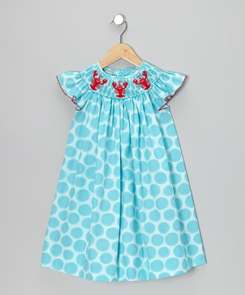 Turquoise Circle Lobster Smocked Dress - Toddler & Girls