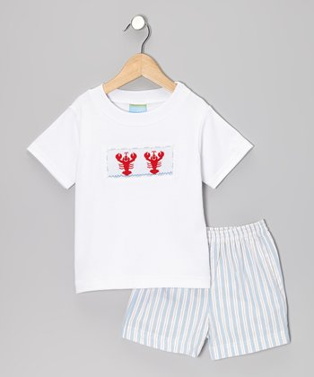White Smocked Lobster Tee & Blue Stripe Shorts - Toddler & Boys
