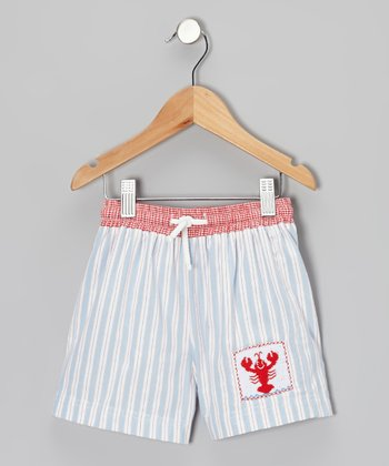 Light Blue Stripe Lobster Smocked Shorts - Infant, Toddler & Boys