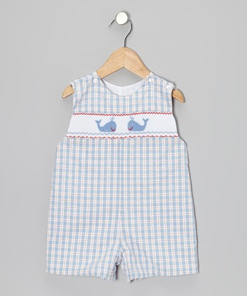 Light Blue Plaid Whale John Johns - Infant & Toddler