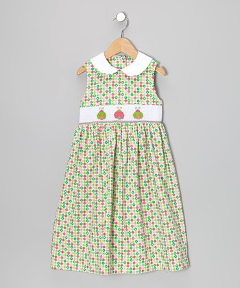 Green Polka Dot Ladybug Smocked Dress - Toddler & Girls