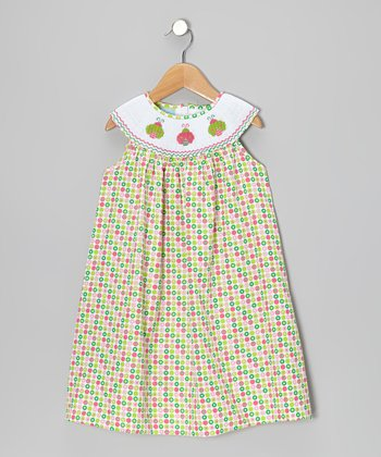 Green Polka Dot Ladybug Yoke Dress - Infant, Toddler & Girls