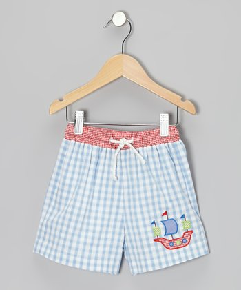 Light Blue Gingham Pirate Swim Trunks - Infant, Toddler & Boys