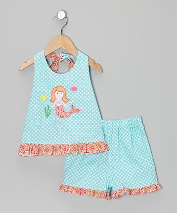 Turquoise Mermaid Ruffle Halter Top & Shorts - Girls