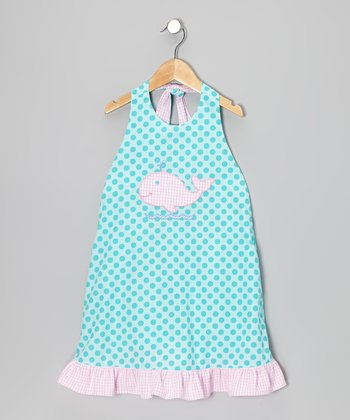 Turquoise Polka Dot Whale Ruffle Halter Dress - Toddler & Girls