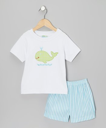 White Whale Tee & Turquoise Stripe Shorts - Toddler & Boys