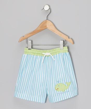 Turquoise Stripe Whale Smocked Shorts - Infant, Toddler & Boys