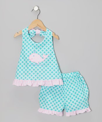 Turquoise Whale Ruffle Halter Top & Shorts - Girls