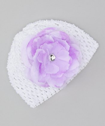 White & Purple Blooms Crochet Beanie