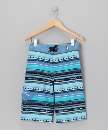 Blue Tribal Fins Boardshorts - Boys
