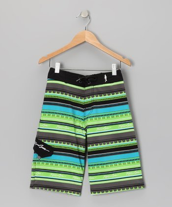 Lime Tribal Fins Boardshorts - Boys