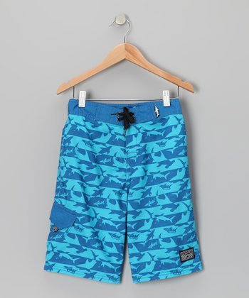Blue Shark Time Boardshorts - Boys