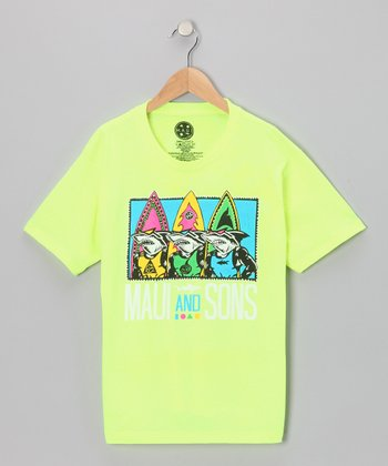 Neon Yellow Shark Row Tee