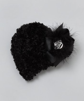 Black Faux Fur Bow Beanie - Infant