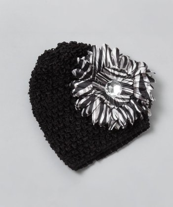 Black Zebra Daisy Flower Beanie - Infant