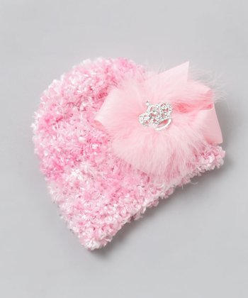 Pink Faux Fur Bow Beanie - Infant